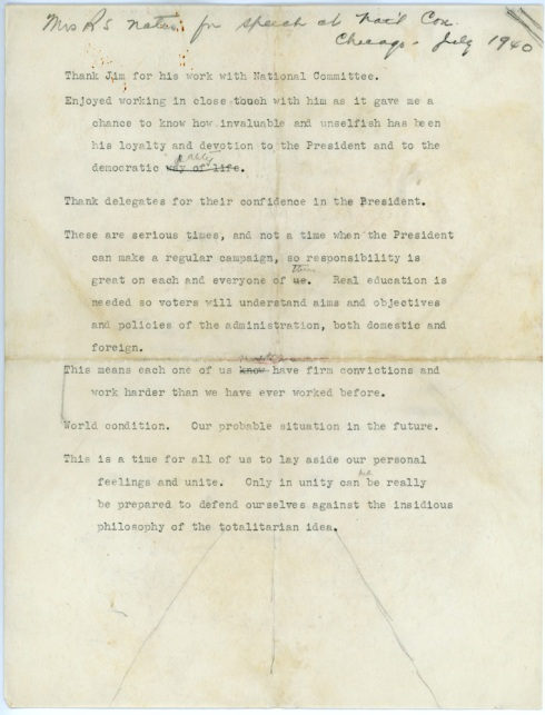 Eleanor Roosevelt's notes for the 1940 convention speech