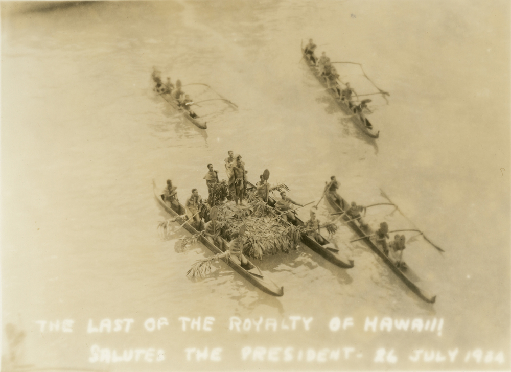 "Original caption reads: ""The Last of the Royalty of Hawaii Salutes the President - 26July 1934."""
