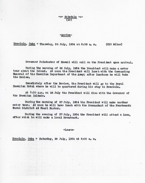 FDR's itinerary for July 26, 1934 included military inspections and a Hawaiian luau.
