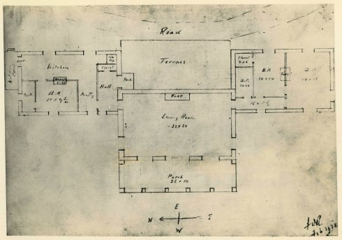 Top Cottage blueprint with FDR's handwritten notations