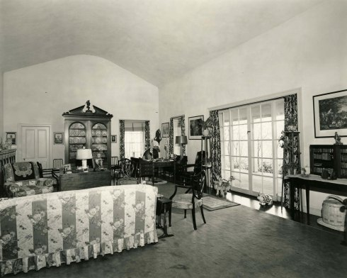 View of the Top Cottage drawing room interior, 1945