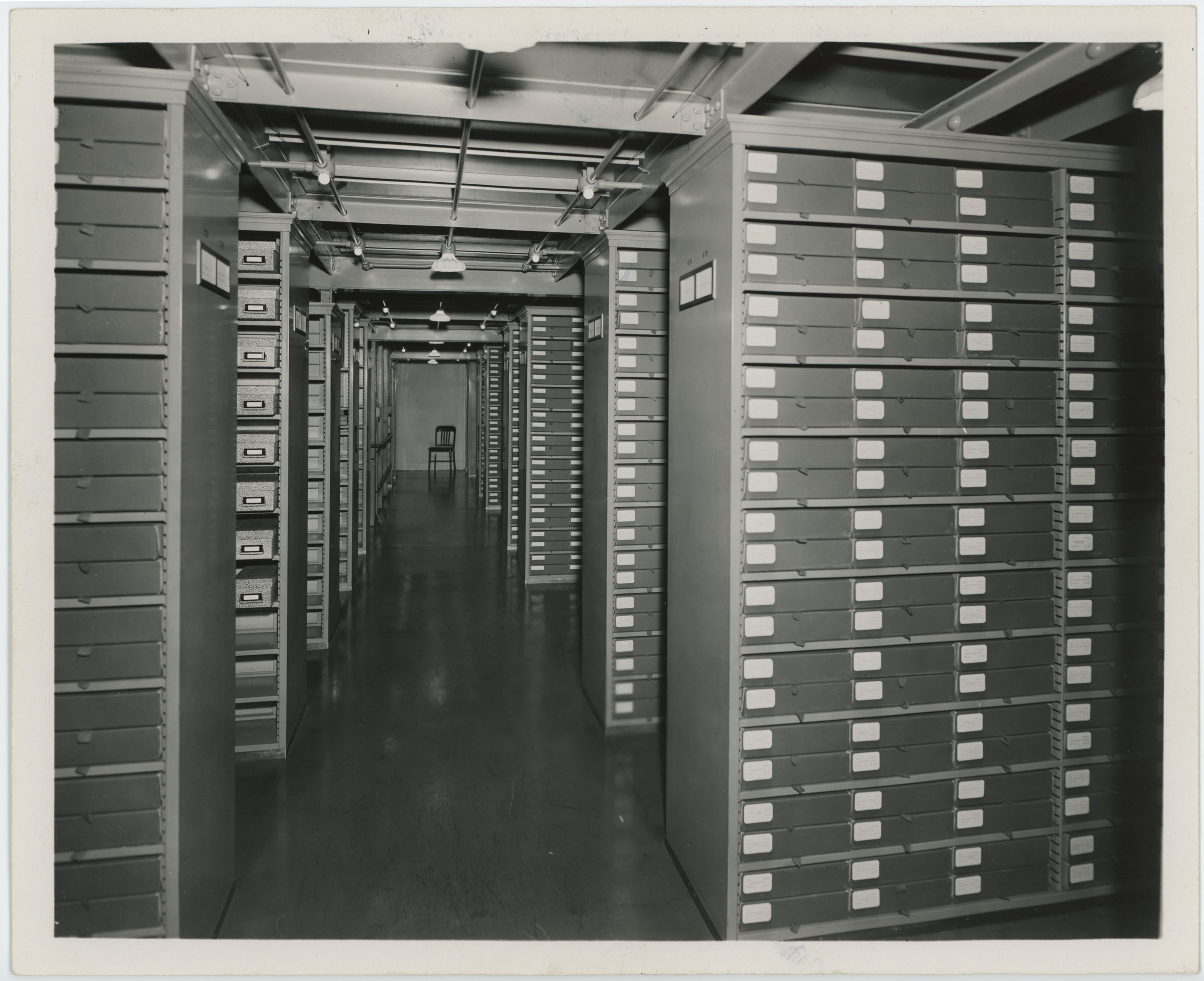 Historic view of FDR Library Archival Stacks