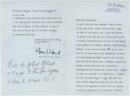 Gore Vidal to Eleanor Roosevelt, circa 1957-1962