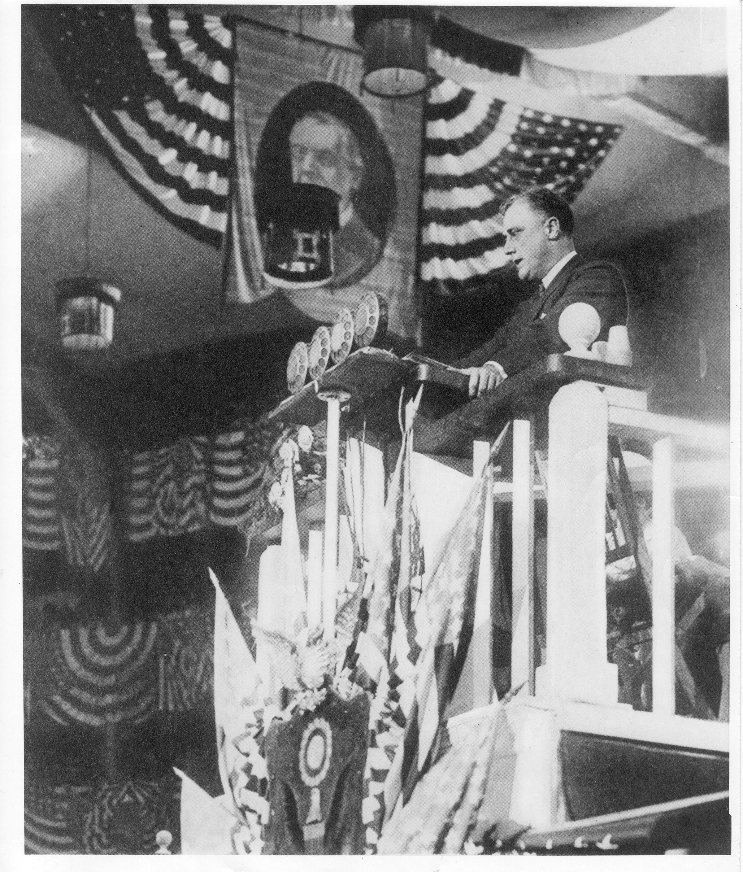 Franklin D. Roosevelt delivers nominating speech for Alfred E. Smith at the Democratic convention, Madison Square Garden, New York, New York. June 26, 1924.