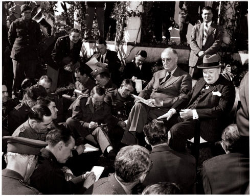 Roosevelt and Churchill at the Casablanca Press Conference, January 24, 1943, the last day of the summit meeting. NPx 48-22:244