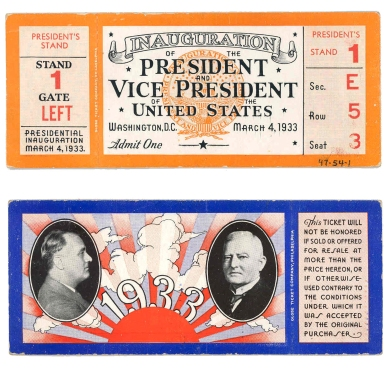 Admission ticket to the 1933 Presidential Inauguration.