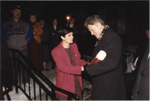 President Clinton and now Library Director Lynn Bassanese. February 1993.