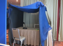 The improvised sound booth used to record the narration.