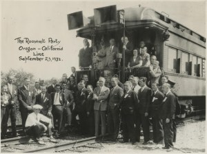 The Roosevelt Campaign Train, September 23, 1932. Joseph Kennedy is in front row, fifth from the right with hand in pocket.